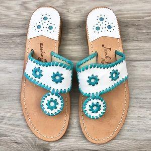 NWOT Jack Rogers White/Turquoise Slide Sandals